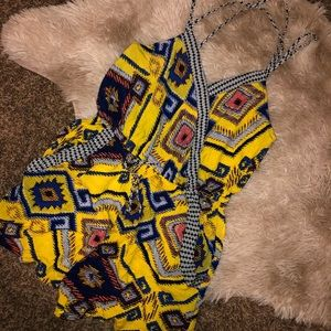 Target Xhilaration Yellow and Blue Romper